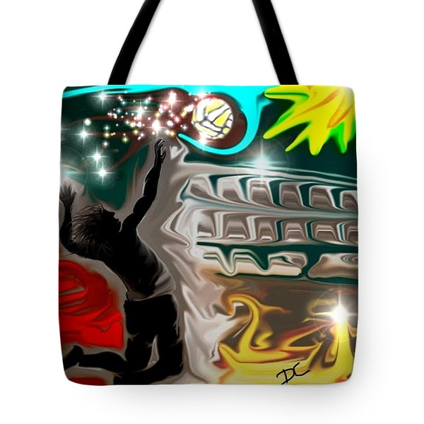 Tote Bag featuring the digital art The Power Of Volleyball by Darren Cannell
