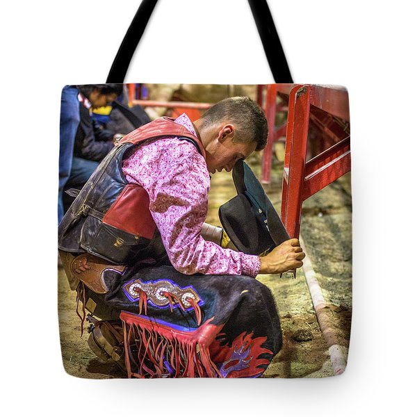 The Cowboy Prayer Before The Rodeo Tote Bag