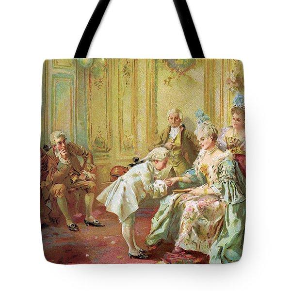 The Presentation Of The Young Mozart To Mme De Pompadour At Versailles Tote Bag by Vicente de Parades