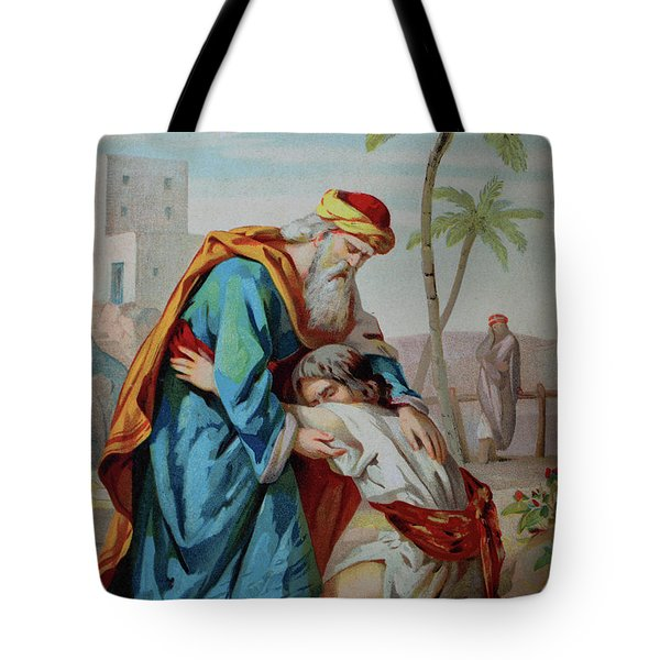 The Prodigal Son, Biblical Parable Of The Gospel Of Luke, Chromolithograph From A Home Bible, 1870 Tote Bag