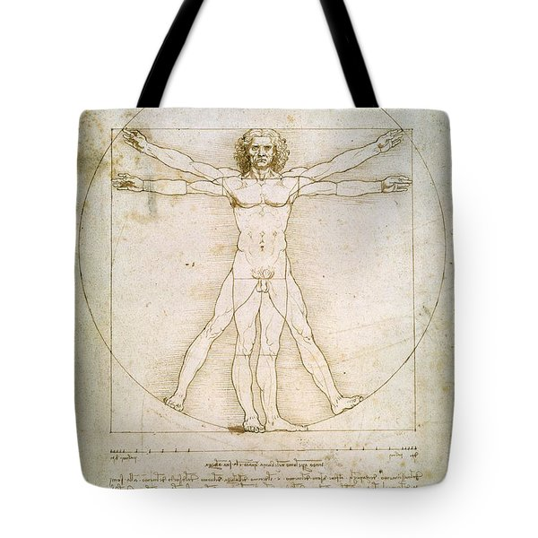 The Proportions Of The Human Figure  Tote Bag by Leonardo Da Vinci