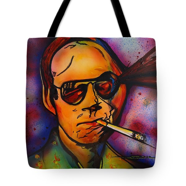 Tote Bag featuring the painting The Psycho-delic Suicide Of The Tambourine Man by Eric Dee