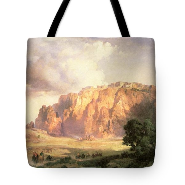 The Pueblo Of Acoma In New Mexico Tote Bag by Thomas Moran
