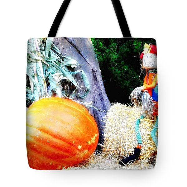 the Pumpkin and the Scarecrow Tote Bag by Bill Cannon