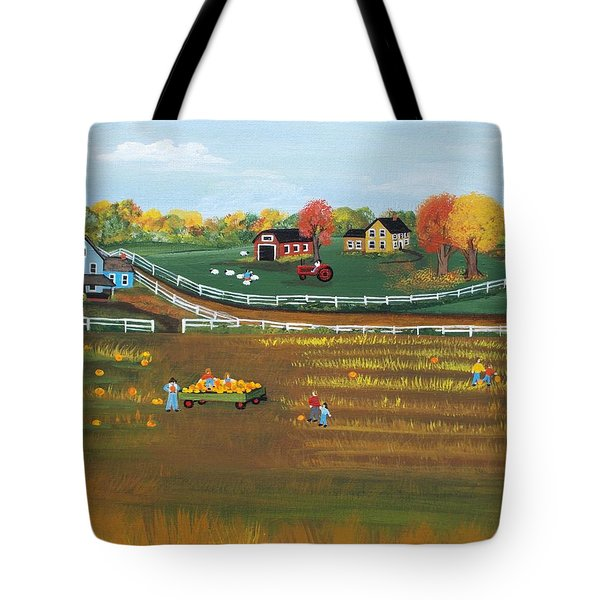 Tote Bag featuring the painting The Pumpkin Patch by Virginia Coyle