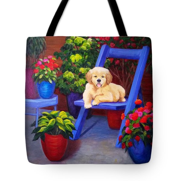 The Puppy In The Garden Tote Bag