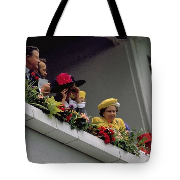 The Queen At Derby Day 1988 Tote Bag