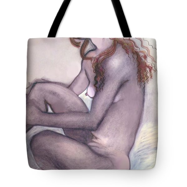 Tote Bag featuring the drawing The Quiet Girl - Female Nude by Carolyn Weltman