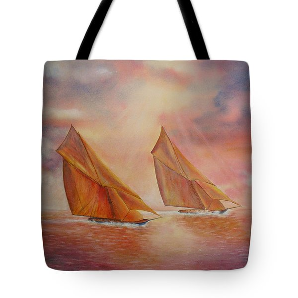 Tote Bag featuring the painting The Race by Beatrice Cloake