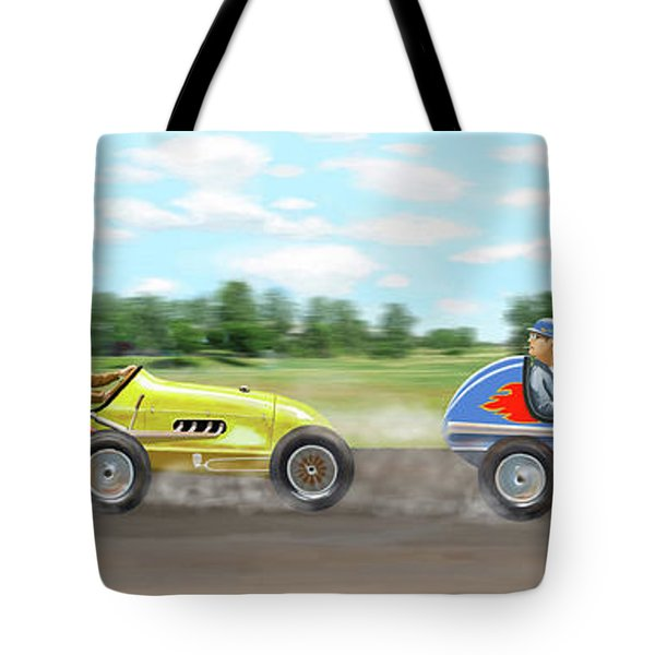 Tote Bag featuring the digital art The Racers by Gary Giacomelli