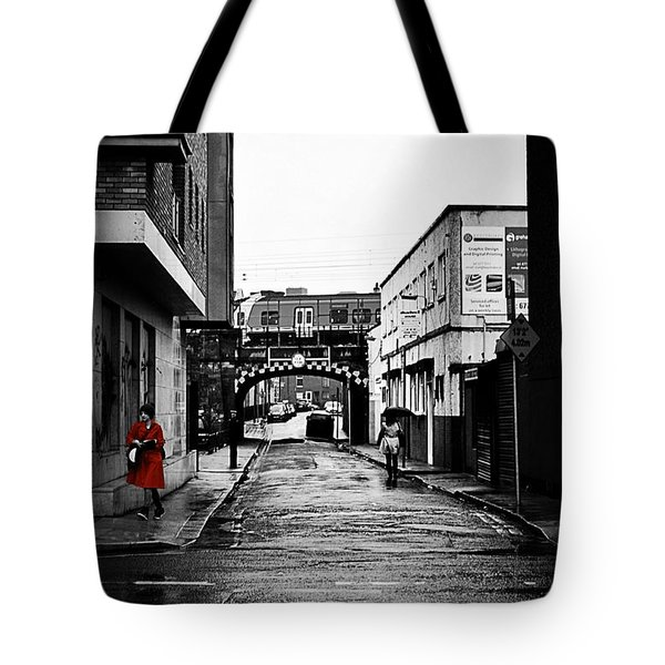 The Rail And The Red Raincoat Tote Bag