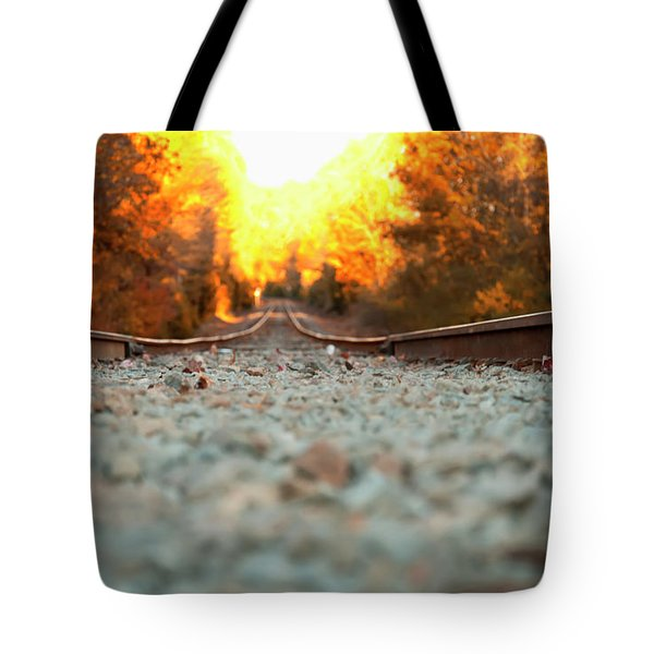Tote Bag featuring the digital art The Railroad Tracks From A New Perspective by Chris Flees