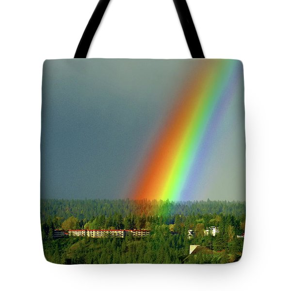 Tote Bag featuring the photograph The Rainbow Apartments by Ben Upham III
