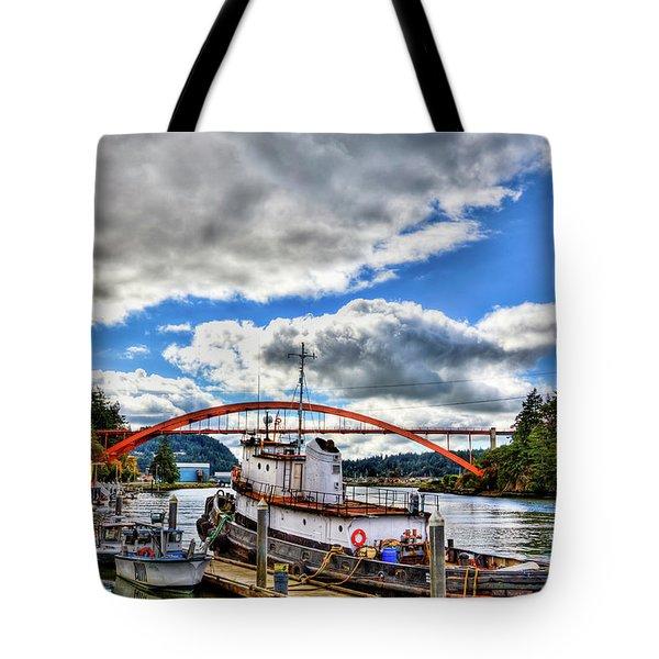 The Rainbow Bridge - Laconner Washington Tote Bag by David Patterson