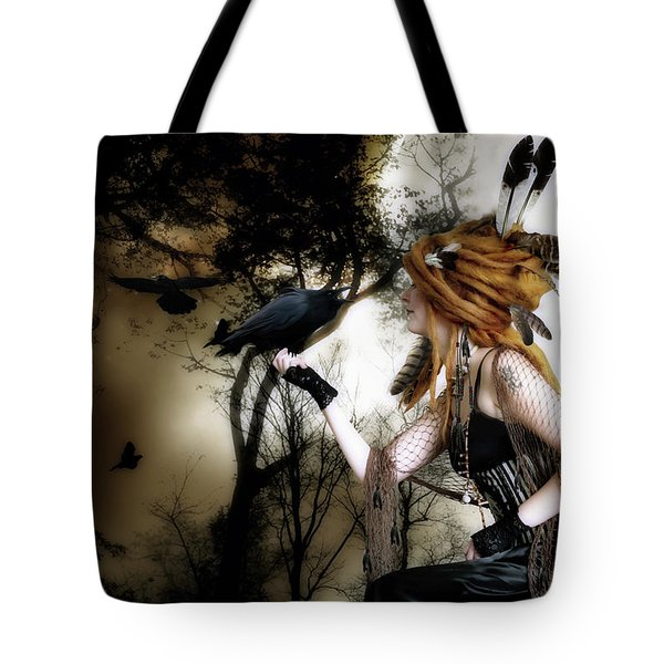 Tote Bag featuring the digital art The Raven by Shanina Conway