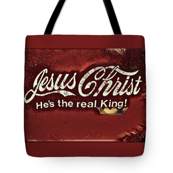 Tote Bag featuring the digital art The Real King by Jennifer Page