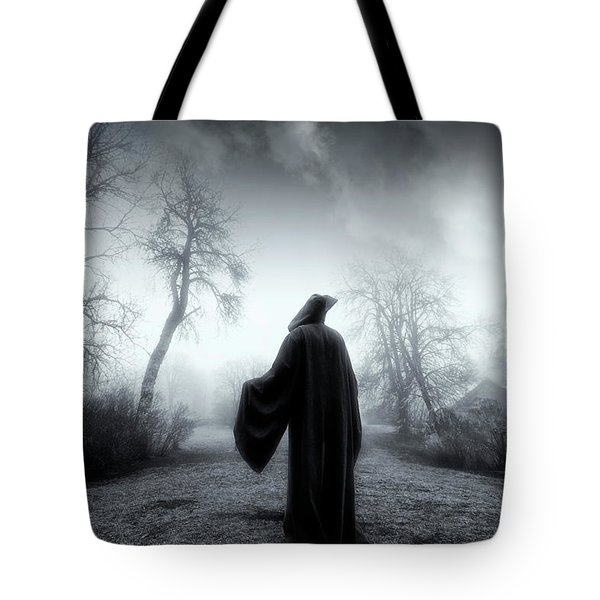 The Reaper Moving Through Mist And Fog Tote Bag