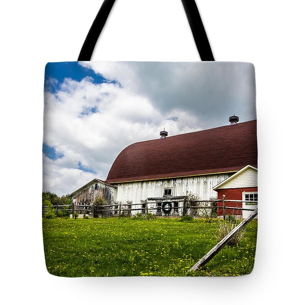 Tote Bag featuring the photograph The Red And White Barn by Paula Porterfield-Izzo
