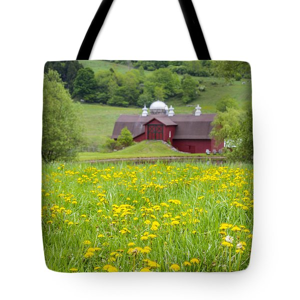 Tote Bag featuring the photograph The Red Barn And Dandelions by Paula Porterfield-Izzo