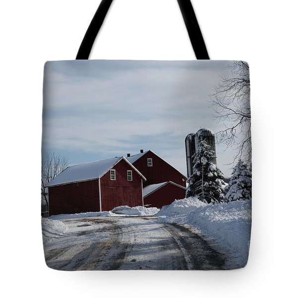 The Red Barn In The Snow Tote Bag