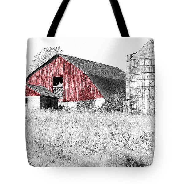 The Red Barn - Sketch 0004 Tote Bag