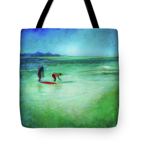 Tote Bag featuring the painting The Red Boogey Board by Angela Treat Lyon