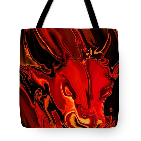 Tote Bag featuring the digital art The Red Bull by Rabi Khan