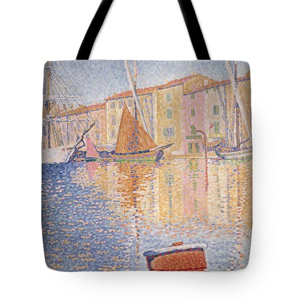 The Red Buoy Tote Bag by Paul Signac
