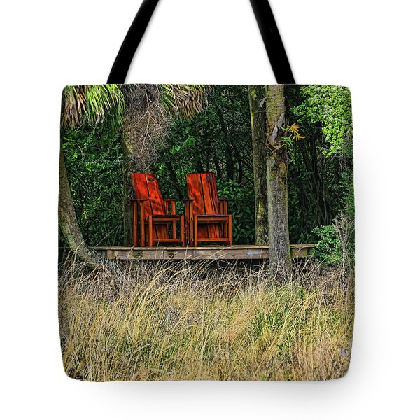 Tote Bag featuring the photograph The Red Chairs by Deborah Benoit