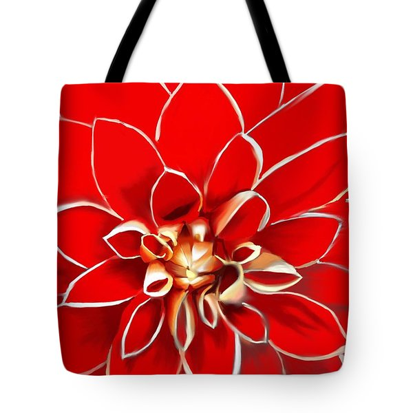 The Red Dahlia Tote Bag