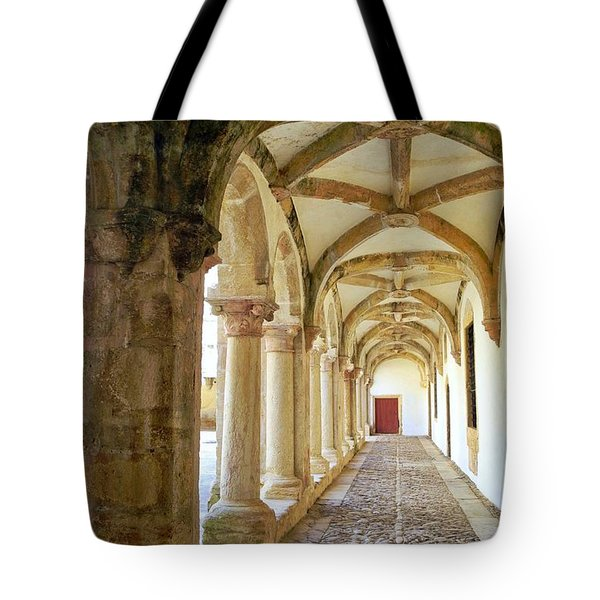 Tote Bag featuring the photograph The Red Door In The Loggia by Kirsten Giving
