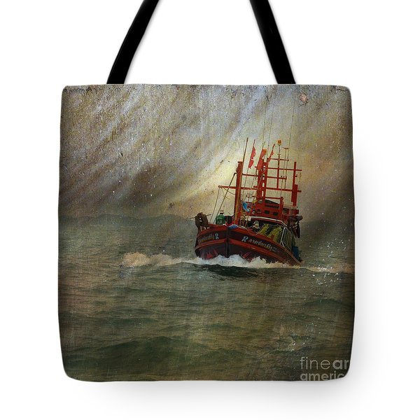 Tote Bag featuring the photograph The Red Fishing Boat by LemonArt Photography