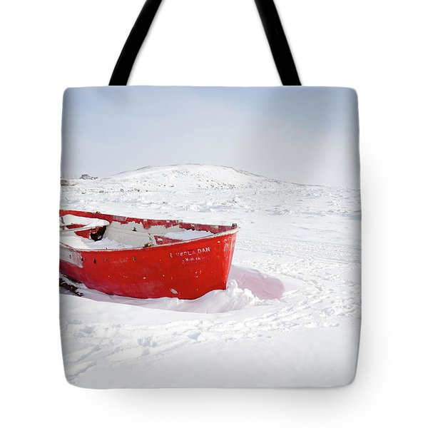 The Red Fishing Boat Tote Bag by Nick Mares