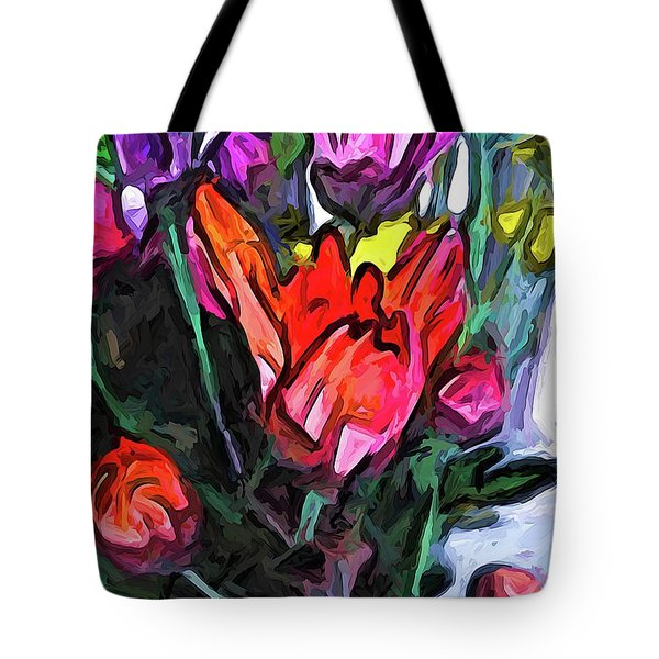 The Red Flower And The Rainbow Flowers Tote Bag