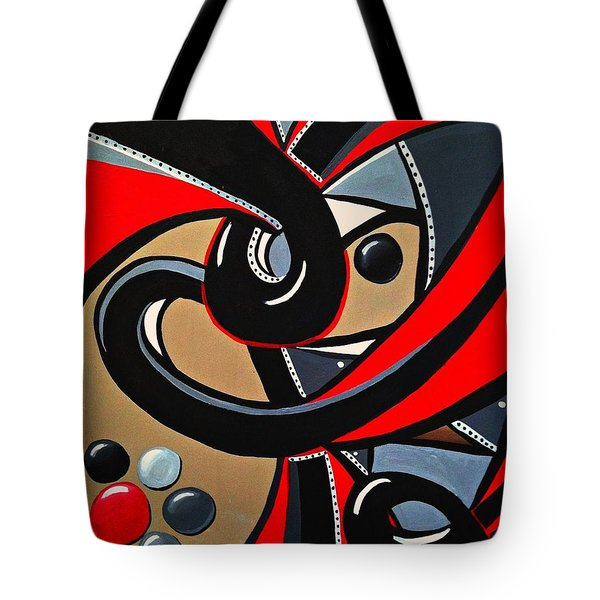 Red And Black Abstract Art Painting Tote Bag