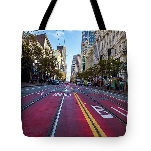 Tote Bag featuring the photograph The Red Path by Darcy Michaelchuk