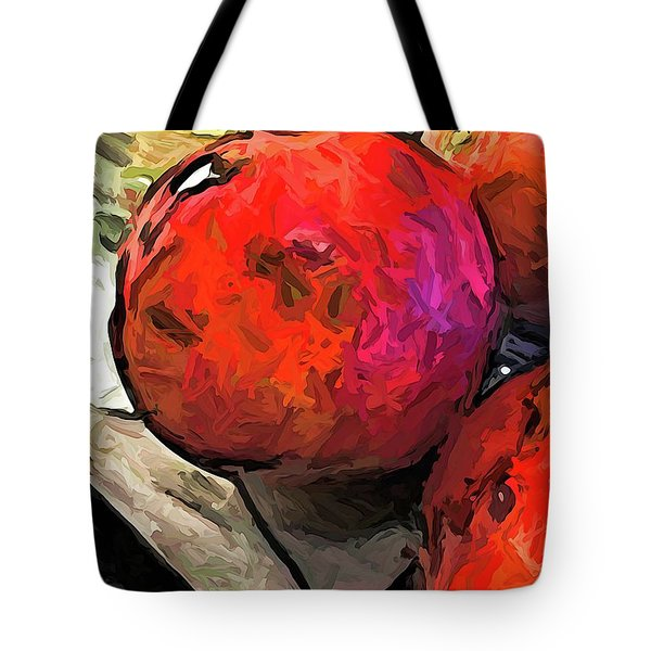 The Red Pomegranates On The Marble Chopping Board Tote Bag