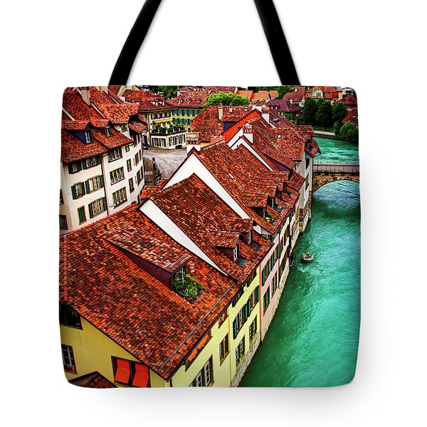 Tote Bag featuring the photograph The Red Rooftops Of Bern Switzerland  by Carol Japp