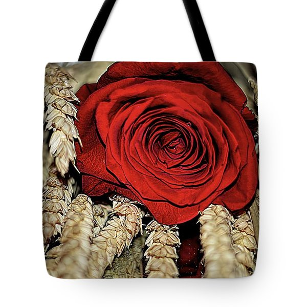 Tote Bag featuring the photograph The Red Rose On A Bed Of Wheat by Diana Mary Sharpton