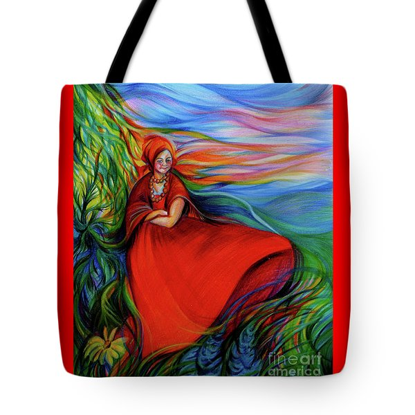 The Red Sarafan Of The Summer Tote Bag by Anna  Duyunova