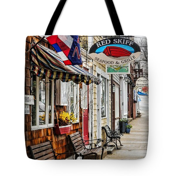 The Red Skiff In Rockport Ma Tote Bag