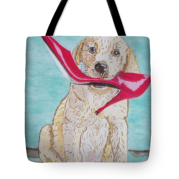 Tote Bag featuring the painting The Red Slipper  by Connie Valasco