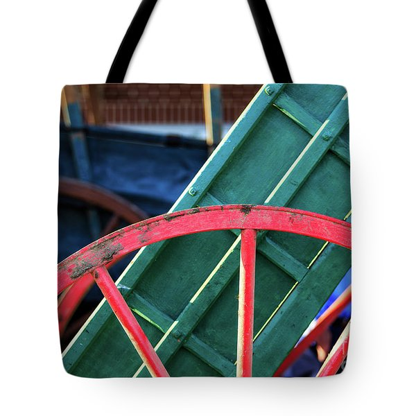 The Red Wagon Wheel Tote Bag