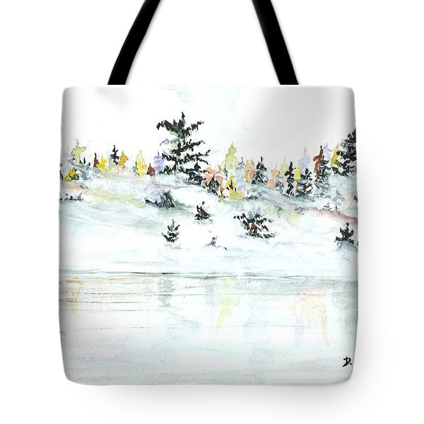 Tote Bag featuring the painting The Reflection Lake by Darren Cannell
