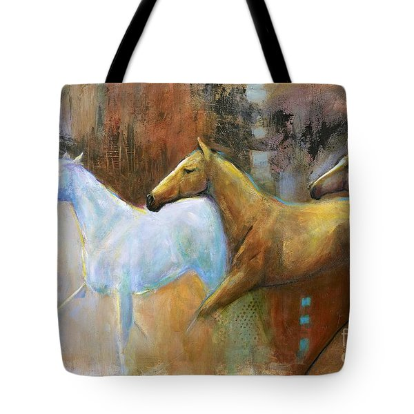 The Reflection Of The White Horse Tote Bag by Frances Marino