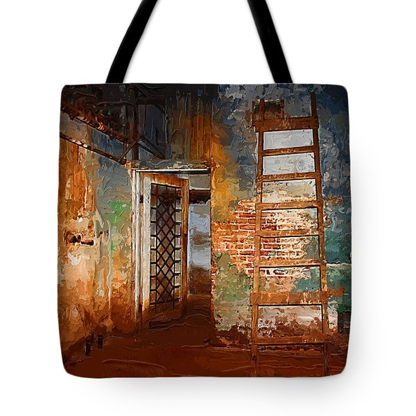 Tote Bag featuring the painting The Renovation by Holly Ethan