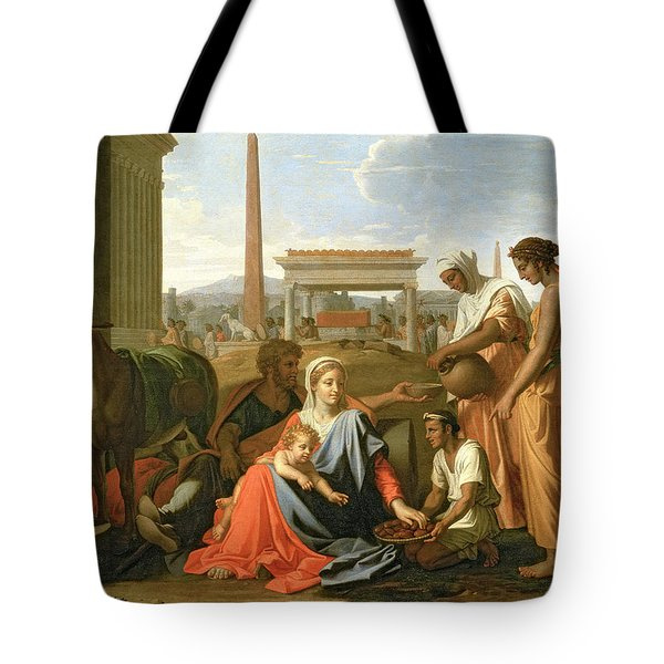 The Rest On The Flight Into Egypt Tote Bag by Nicolas Poussin