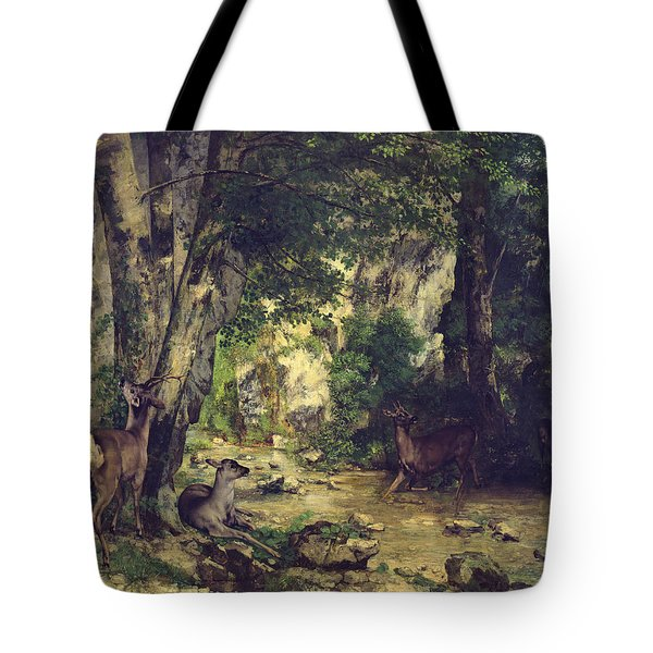The Return Of The Deer To The Stream At Plaisir Fontaine Tote Bag