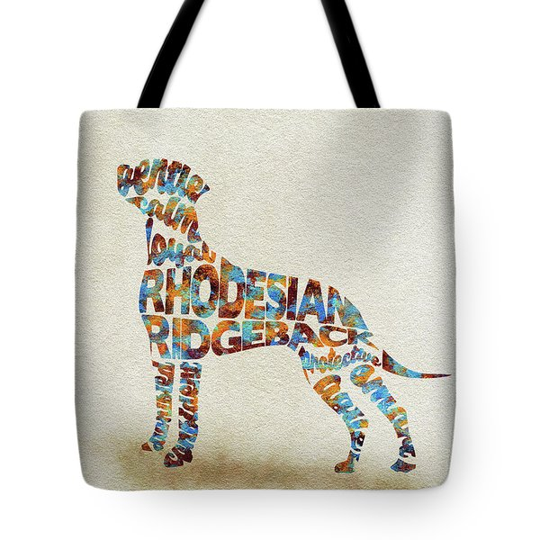 Tote Bag featuring the painting The Rhodesian Ridgeback Dog Watercolor Painting / Typographic Art by Inspirowl Design