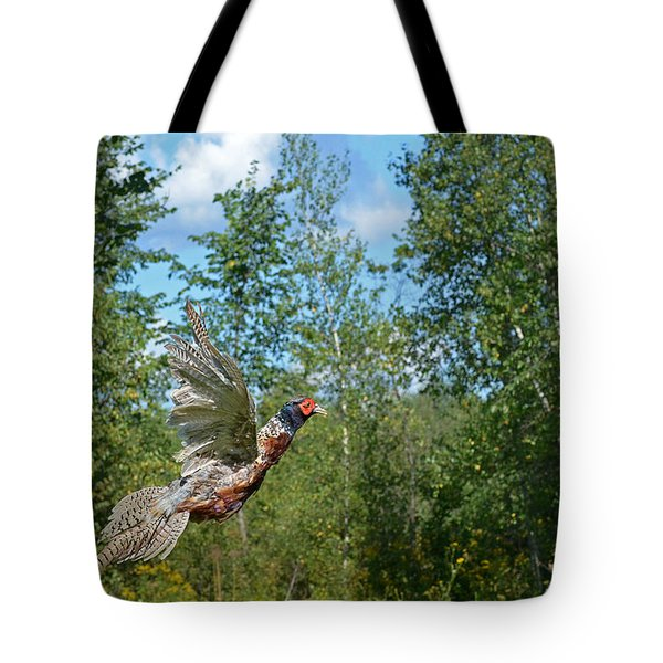 The Ring-necked Pheasant In Take-off Flight Tote Bag